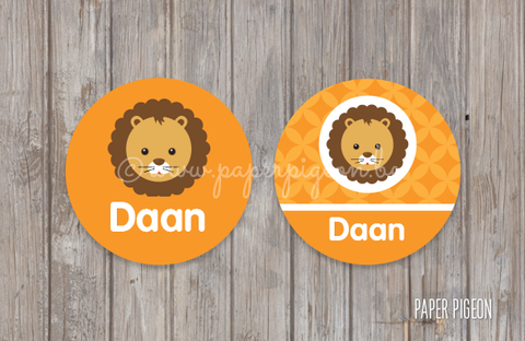 Ronde STICKERS 'jungle leeuw'