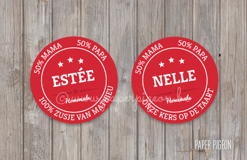 Ronde STICKERS 'kersen 2' - 32 mm - stickervel 12 ex.