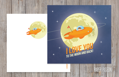 Wenskaart 'I love you to the moon and back' + witte envelop