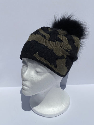 Camo Army Beanie with Pom Pom