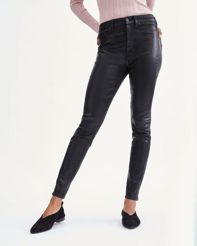 Coated High Waist Ankle Jean