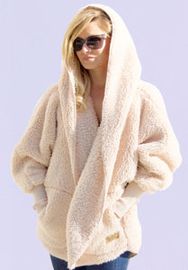 Nordic Beach Hooded Plush Cardigan Fluffy Frappe