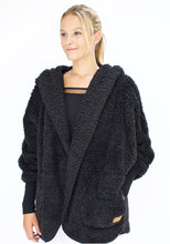Load image into Gallery viewer, Nordic Beach Hooded Plush Cardigan Black