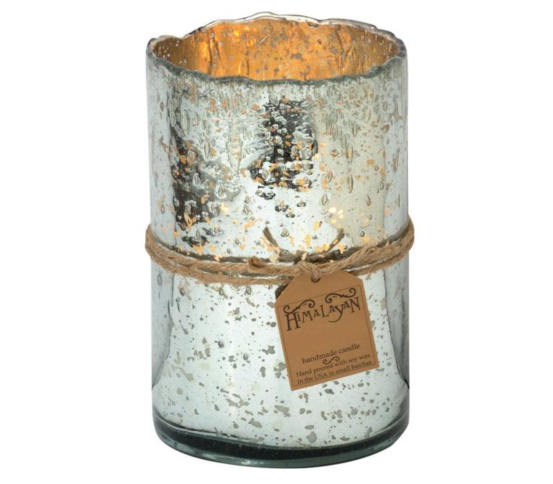 Himalayan Silver Hurricane Candle - Sunlight in the Forest