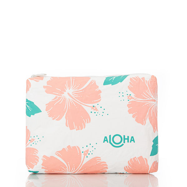 Aloha Collection Mid Hibiscus Pouch in Guava