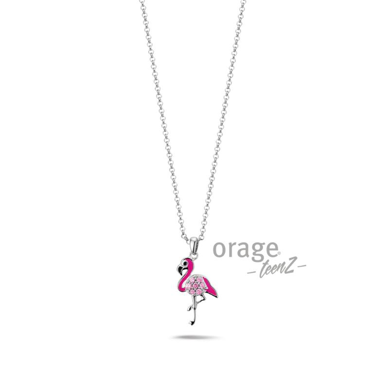 Zilveren ketting flamingo Orange Teenz