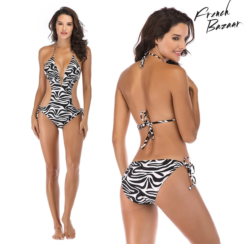 French Bazaar One Piece Ladies Women Zebra stripes Bikini Swimwear Swimsuit Push Up Padded Bathing Suit