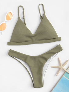 The Hipster - Ribbed Triangle Top With Hipster Cheeky Bikini