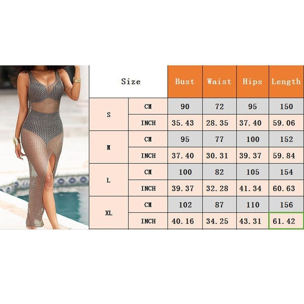 Women Crochet Hollow Out Beach Bikini Cover Up Swimsuit Bathing Swimwear Dress(S-XL)