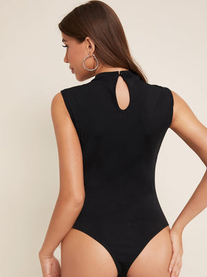 Mock-Neck Strappy Yoke Form Fitted Bodysuit