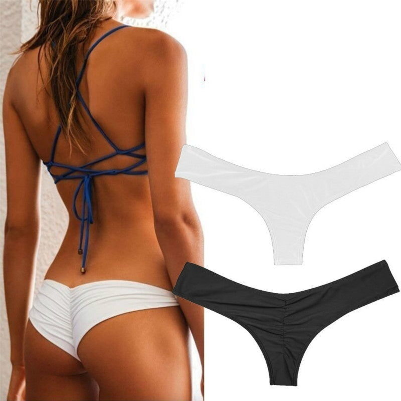 (Only Swimming Trunks ) Bikini Women Brazilian Cheeky Bottom Thong V Swimwear Swimsuit S-XL