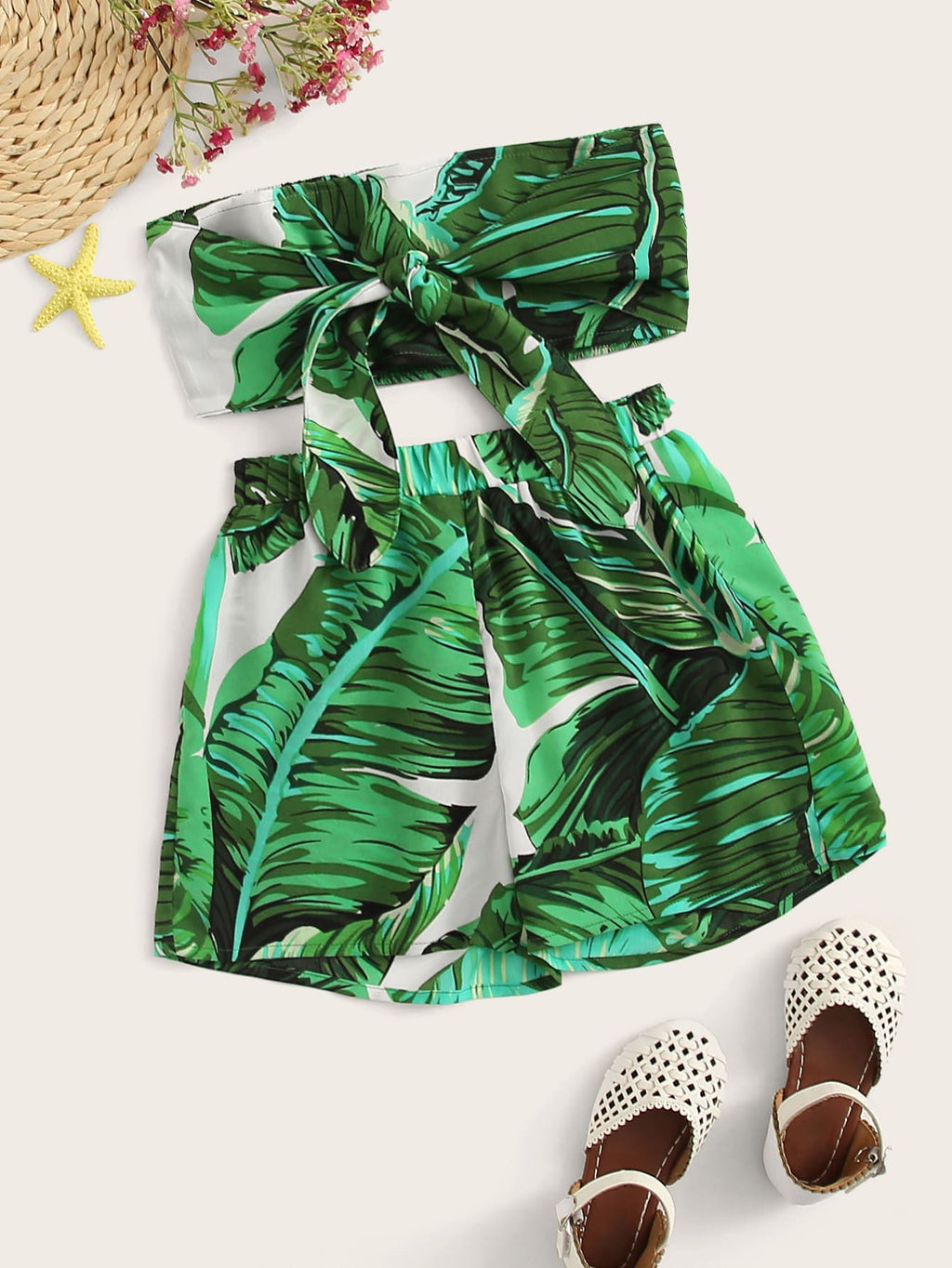 Amazon Light - Girls Tropical Print Tie Front Bandeau and Shorts Set