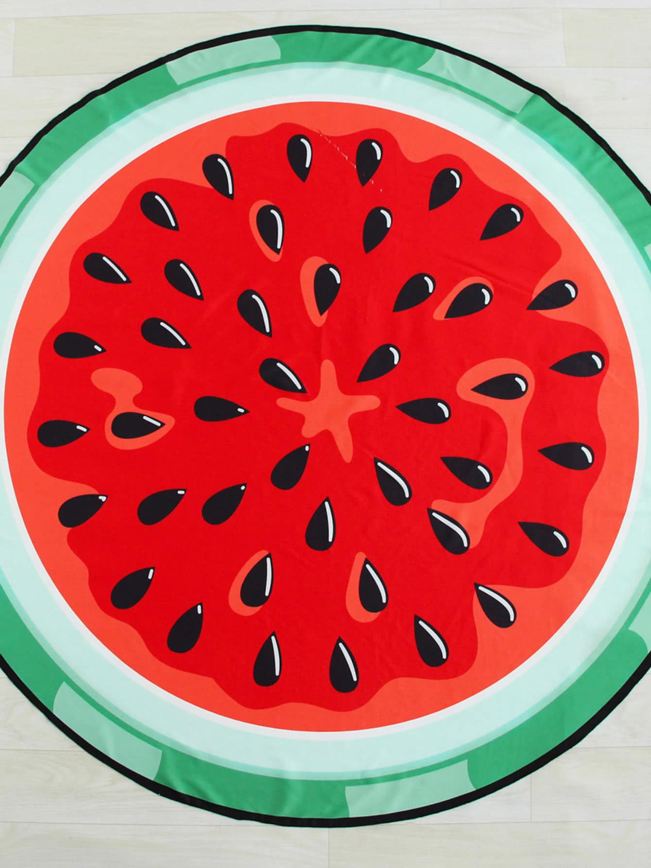 Watermelon Print Round Beach Blanket