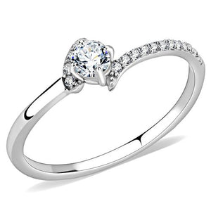 DA152 High polished (no plating) Stainless Steel Ring with AAA Grade CZ in Clear