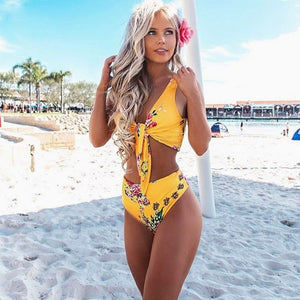 Women Fashion  High Leg Brazilian Sexy Bikini Bandage Swimsuit Swimwear Floral High Waisted Bathing Suit Sexy Biquini