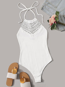 Tie Neck Backless Guipure Lace Insert Bodysuit