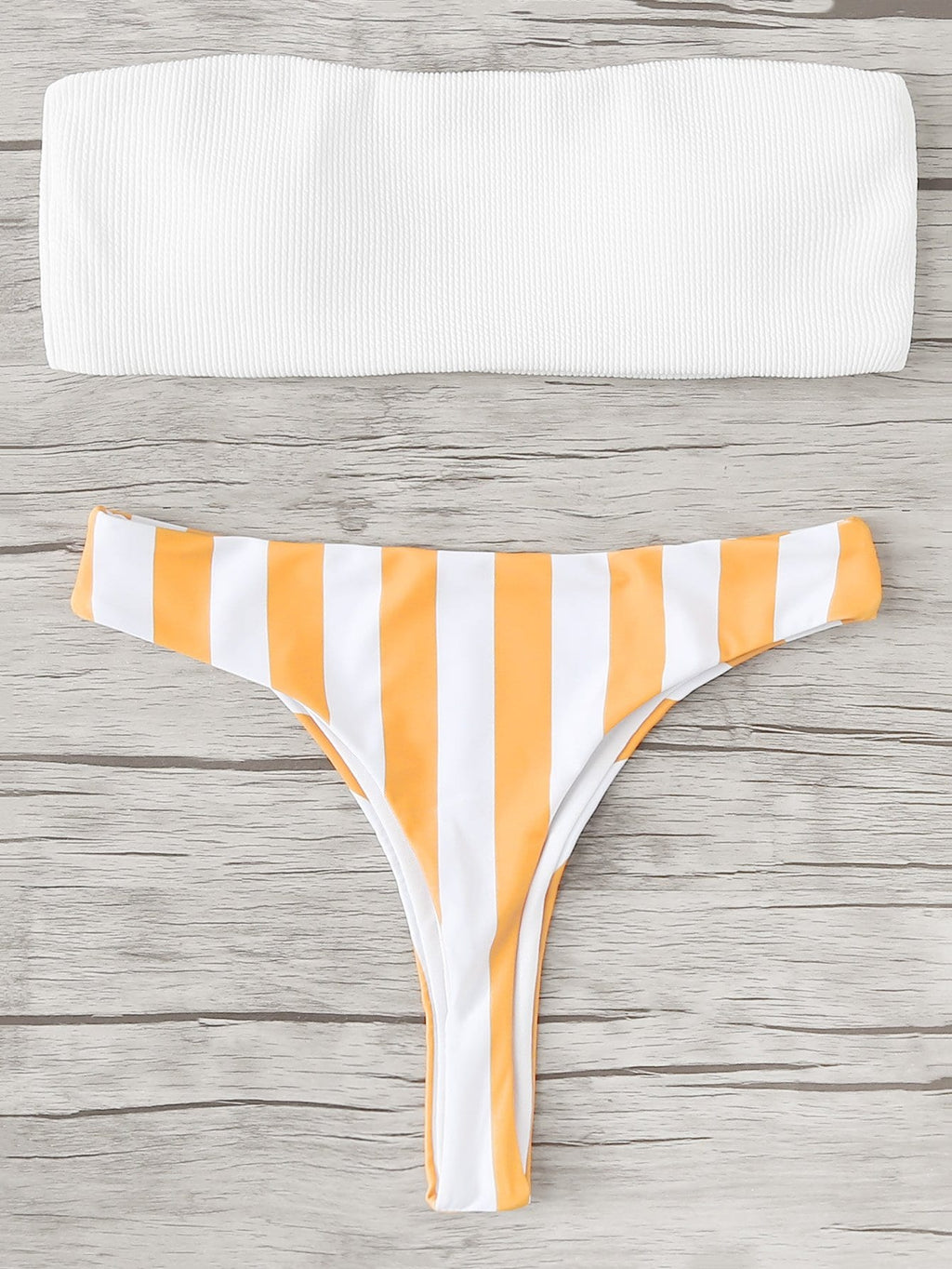 Mellow Yellow - Bandeau Top With Striped Bikini Set