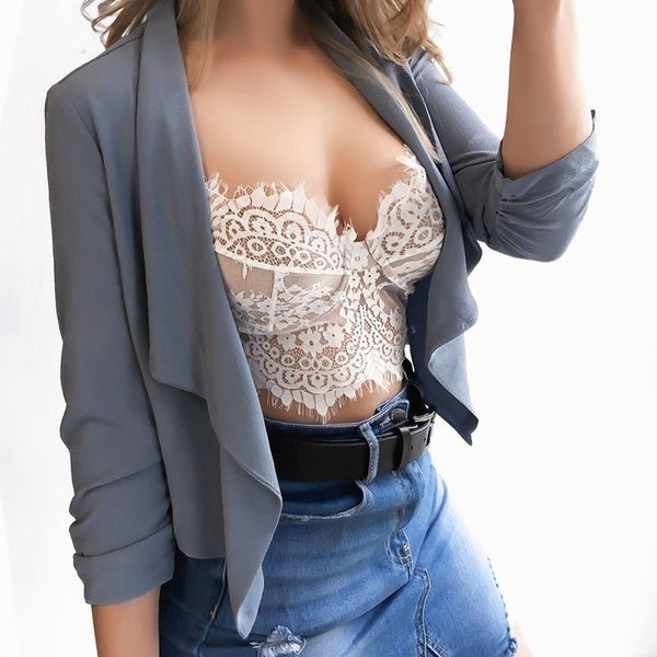 Women Deep V Neck Lace Bra Spaghetti Strap Off Sholder Crop Tops Ladies Sport Wear Lace Floral Bralette Wavy Hem Unpadded Sheer
