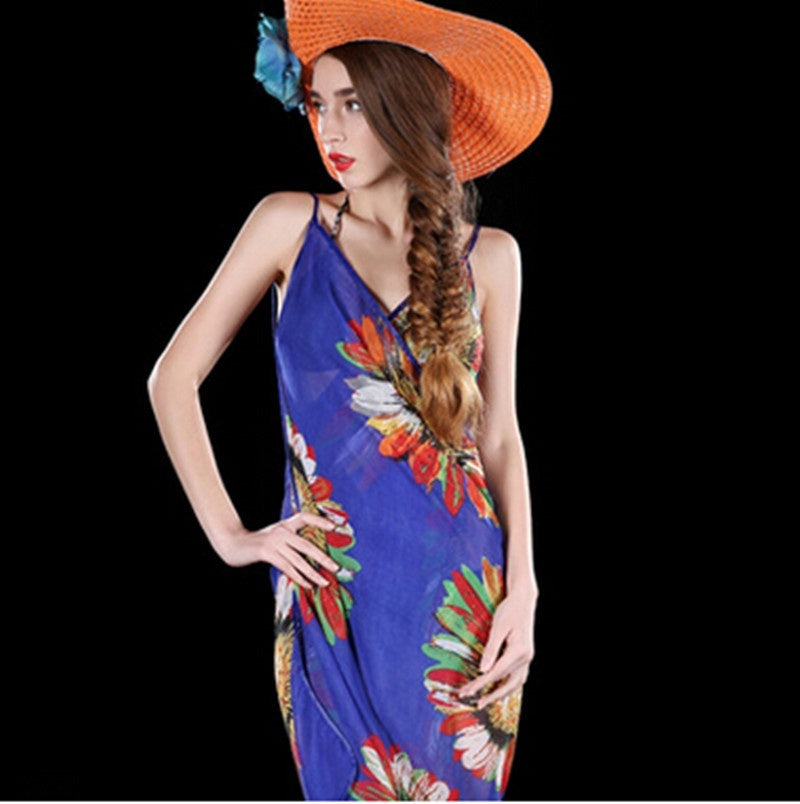Sexy Women Chiffon Flower Scarf Bikini Cover Up Beach Swimwear sun-proof Dress HAHA
