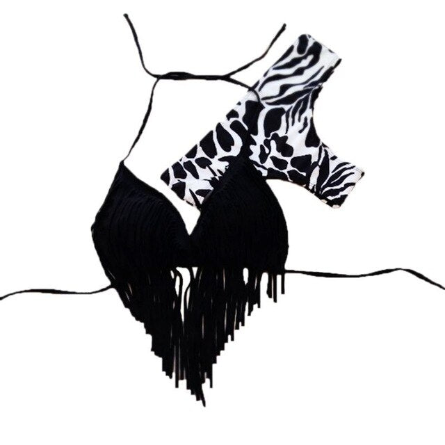 Sexy Zebra-Stripes Two-Piece Bikini Set Halter V-Neck Irregular Long Tassels Patchwork Bra Low Waist Retro Thong swimsuits