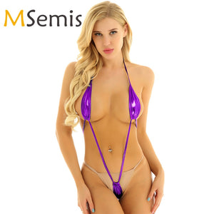Swimwear Women One Piece Swimsuit G-String Mini Bikini Micro Thong Swimwear Lingerie Backless Sexy Slingshot Trikini Bikini Set