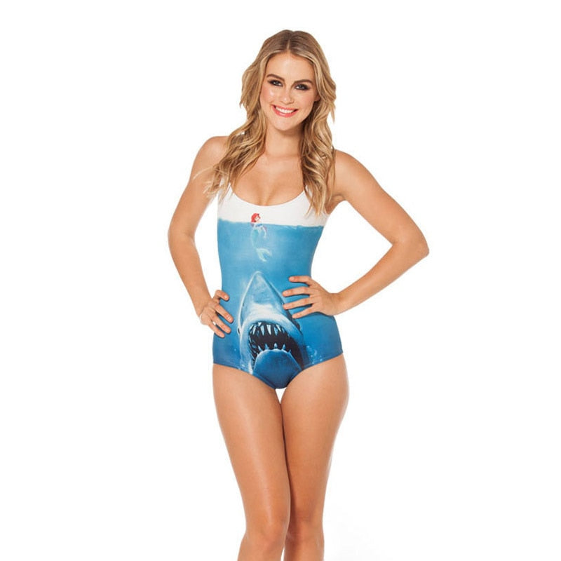 Shark Attack  - 3D Prints One Piece Suit Sleeveless Swimsuit