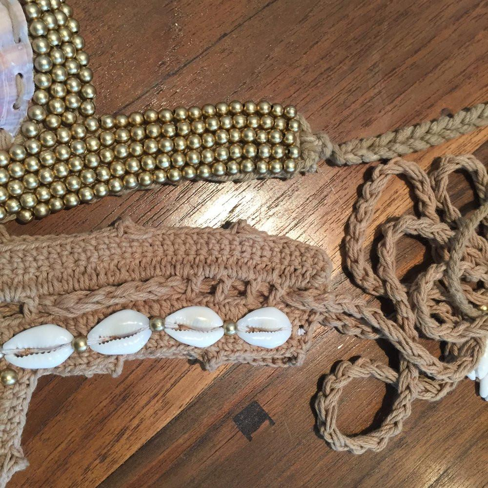 Shelly - Hand Crochet Beaded Braid Bikini Swim Suit Brazilian Cut  Natural Shells Swimwear Two Pieces Women