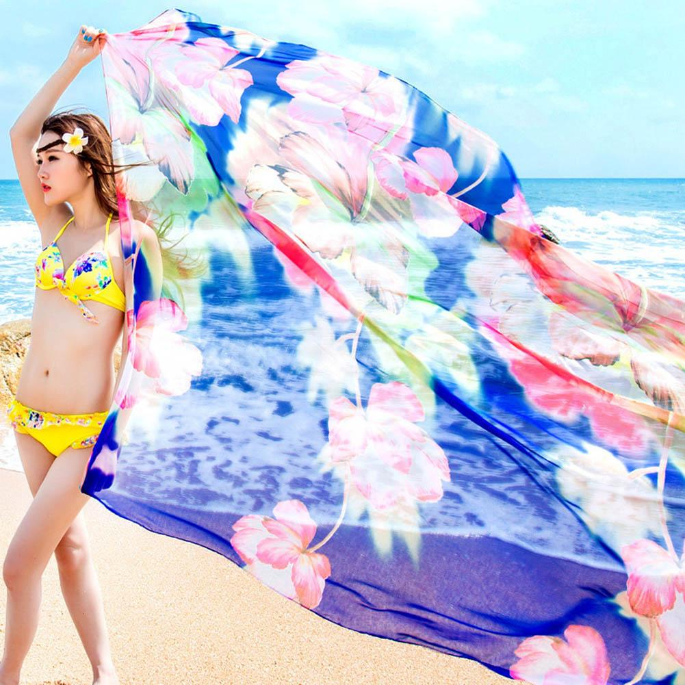 2018 Summer Print Oversize Beach towel Scarf Women Pareo Beach Cover Up Wrap Sarong Sunscreen Long Cape Female 180*150cm
