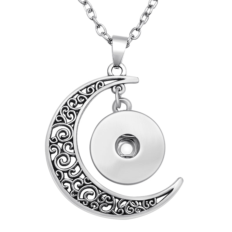 The Middle of the Moon - NEW Fashion DJ0119 trendy Moon snap Necklace 50cm fit 18MM charm snap buttons snap jewlery