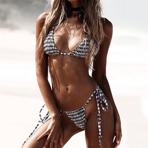 Plaid is Back!  Sexy Plaid Bikini 2019 Pleated swimsuit