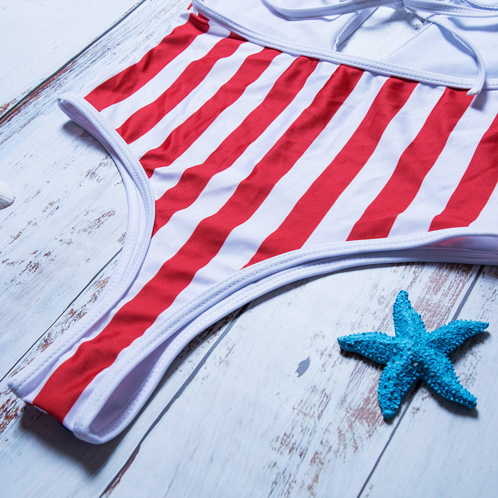 American Gansta - swimsuit Sexy Women American Flag Loose 4th Of July One Piece Beach Swimwear Monokini Bikini beachwear Bathing suit
