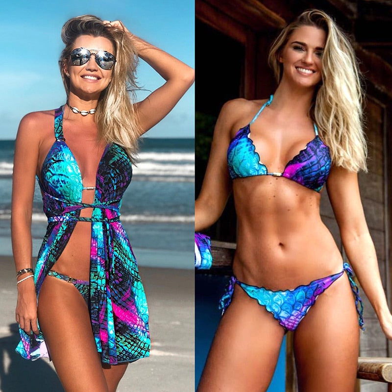 Full Scale! - Bikini Set 2019 Women Sexy Three Piece Gradient Colored Mermaid Fish Scales Digital Printing Swimsuit Cardigan Criss Cross Suit