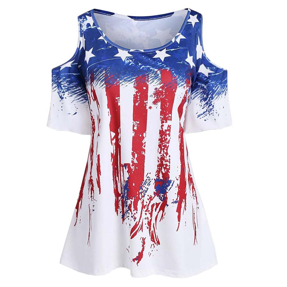 July 4th American Flag Stars Striped 2019 Summer Vogue Women Clothes Sexy Off Shoulder Short Sleeve Heart Printed Tops T Shirt D