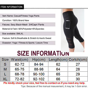 Calf-length Pants Capri Pant Sport leggings Women Fitness Yoga Gym High Waist Legging Girl Black Mesh 3/4 Yoga Pants women