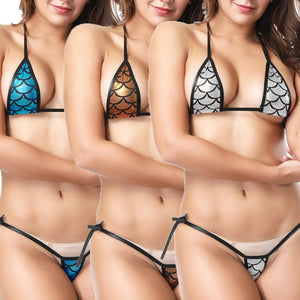Sexy Bikini Women Eye-catching Shiny Bikinis Micro Halter Top + G-String Set Swimsuit Low Waist Bathing Suits Biquini Maillot De