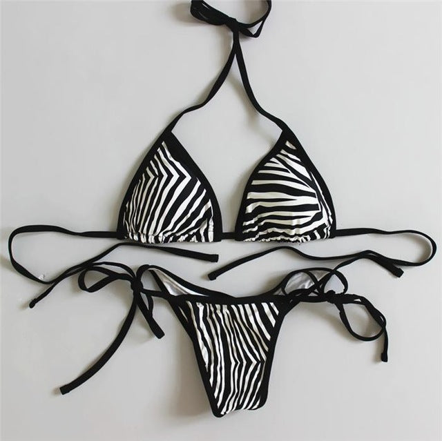 Sexy Zebra Push Up Women Swimwear Bathing Suit Triangle Thong Bottom Bandage Swimsuit  Halter Brazilian Bikinis Set 2019