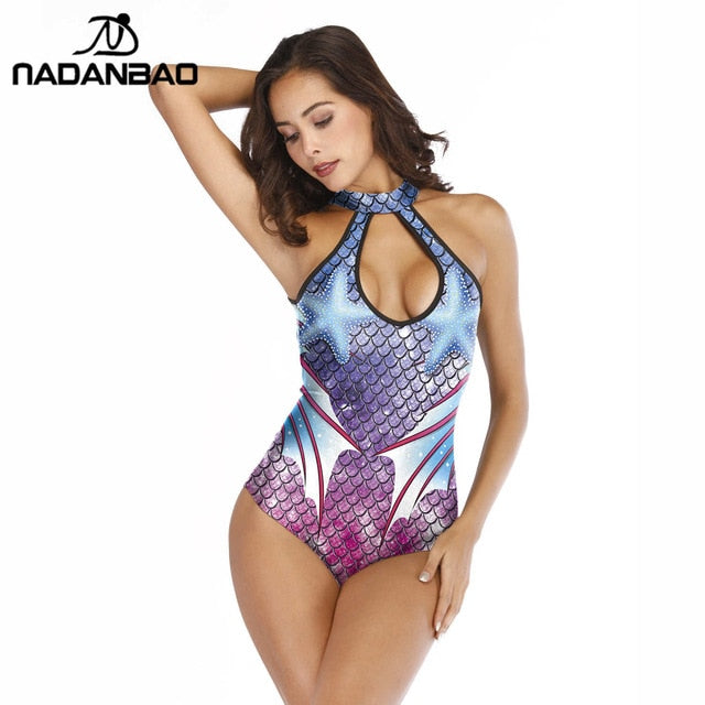 Tropical Reefer -  Monokini Halter Backless Female One Piece Swimsuit