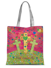 "Load image into Gallery viewer, Accessories 15""x16.5"" God Loves Me Amanya Design Sublimation Tote Bag Prodigi"