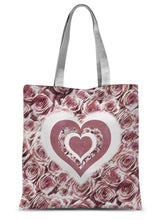 "Load image into Gallery viewer, Accessories 15""x16.5"" Textured Roses Love & Background Dusky Pink Amanya Design Sublimation Tote Bag Prodigi"