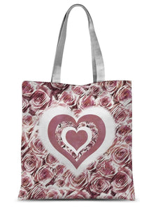 "Accessories 15""x16.5"" Textured Roses Love & Background Dusky Pink Amanya Design Sublimation Tote Bag Prodigi"