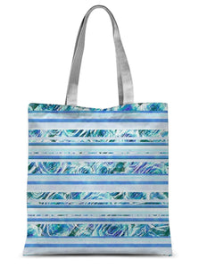 "Accessories 15""x16.5"" Textured Roses Stripe Blue Amanya Design Sublimation Tote Bag Prodigi"