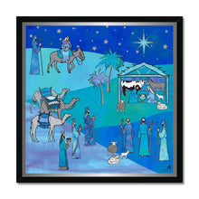 "Load image into Gallery viewer, Fine art 20""x20"" / Black Frame Bethlehem Blue Silk Amanya Design Framed Print Prodigi"
