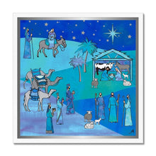 "Load image into Gallery viewer, Fine art 20""x20"" / White Frame Bethlehem Blue Silk Amanya Design Framed Print Prodigi"