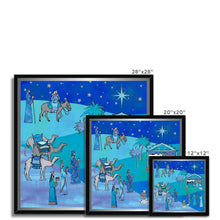 Load image into Gallery viewer, Fine art Bethlehem Blue Silk Amanya Design Framed Print Prodigi