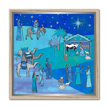 "Load image into Gallery viewer, Fine art 20""x20"" / Natural Frame Bethlehem Blue Silk Amanya Design Framed Print Prodigi"