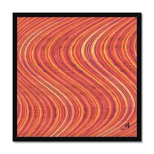 "Fine art 20""x20"" / Black Frame Watercolour Waves Red Amanya Design Framed Print Prodigi"