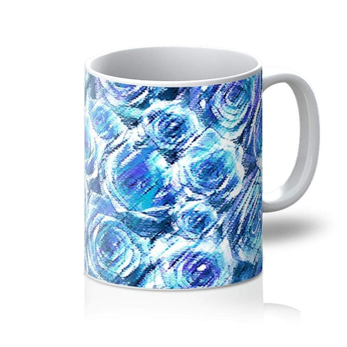 Homeware 11oz / White Textured Roses Cornflower Amanya Design Mug Prodigi