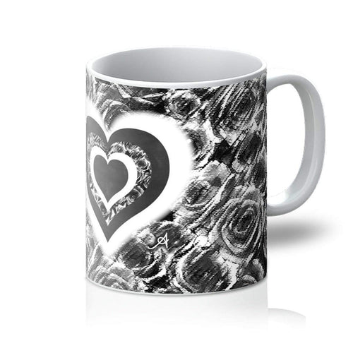Homeware 11oz / White Textured Roses Love & Background Black Amanya Design Mug Prodigi