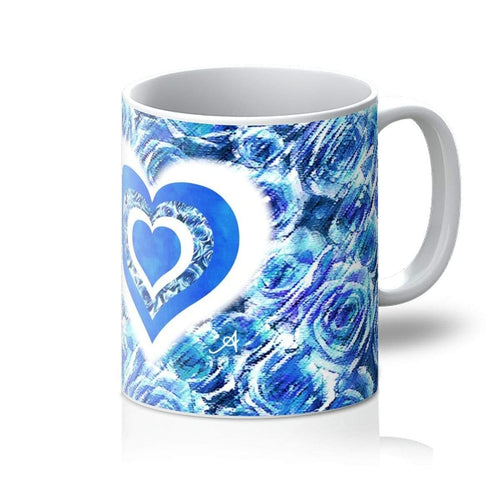 Homeware 11oz / White Textured Roses Love & Background Cornflower Amanya Design Mug Prodigi