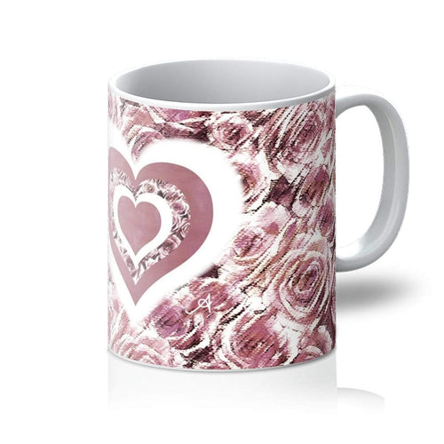 Homeware 11oz / White Textured Roses Love & Background Dusky Pink Amanya Design Mug Prodigi